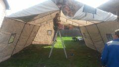 Армейская палатка БЕРЕГ-50М1 6х13,5 Каркас сталь (однослойная)