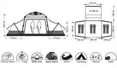 Палатка 6 местная 4+2 CAMP (5 мин.)